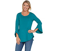 Isaac Mizrahi Live! Knit Peplum Top with Tulip Hem & Sleeve Detail - A308014