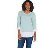 Martha Stewart Striped Knit Top with Poplin Cuffs and Hem - A309314