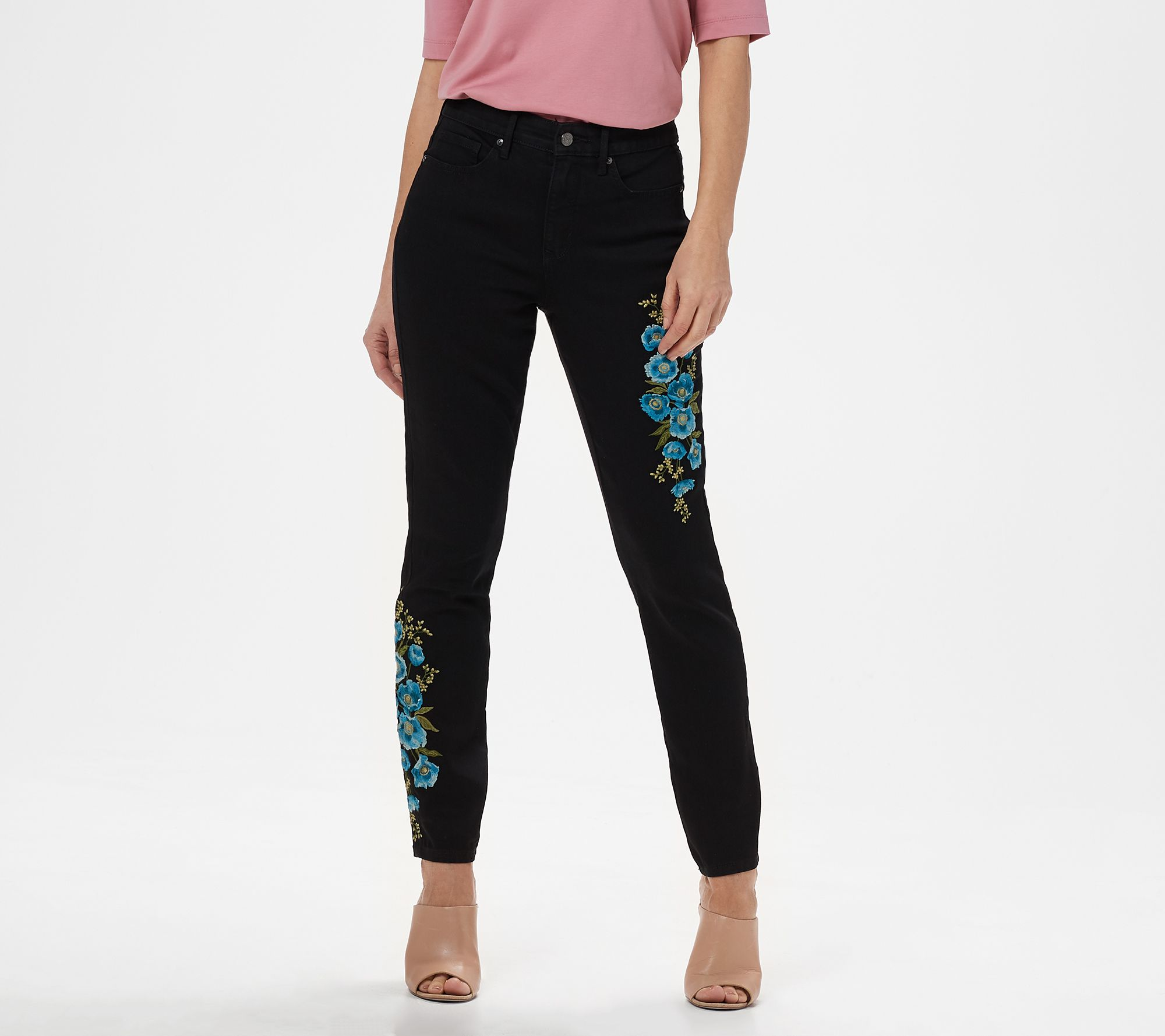Martha Stewart Petite Embroidered Ankle Jeans Medium Peacock 10P NEW A309527