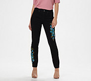 Martha Stewart Regular Embroidered 5-Pocket Ankle Jeans - A309514