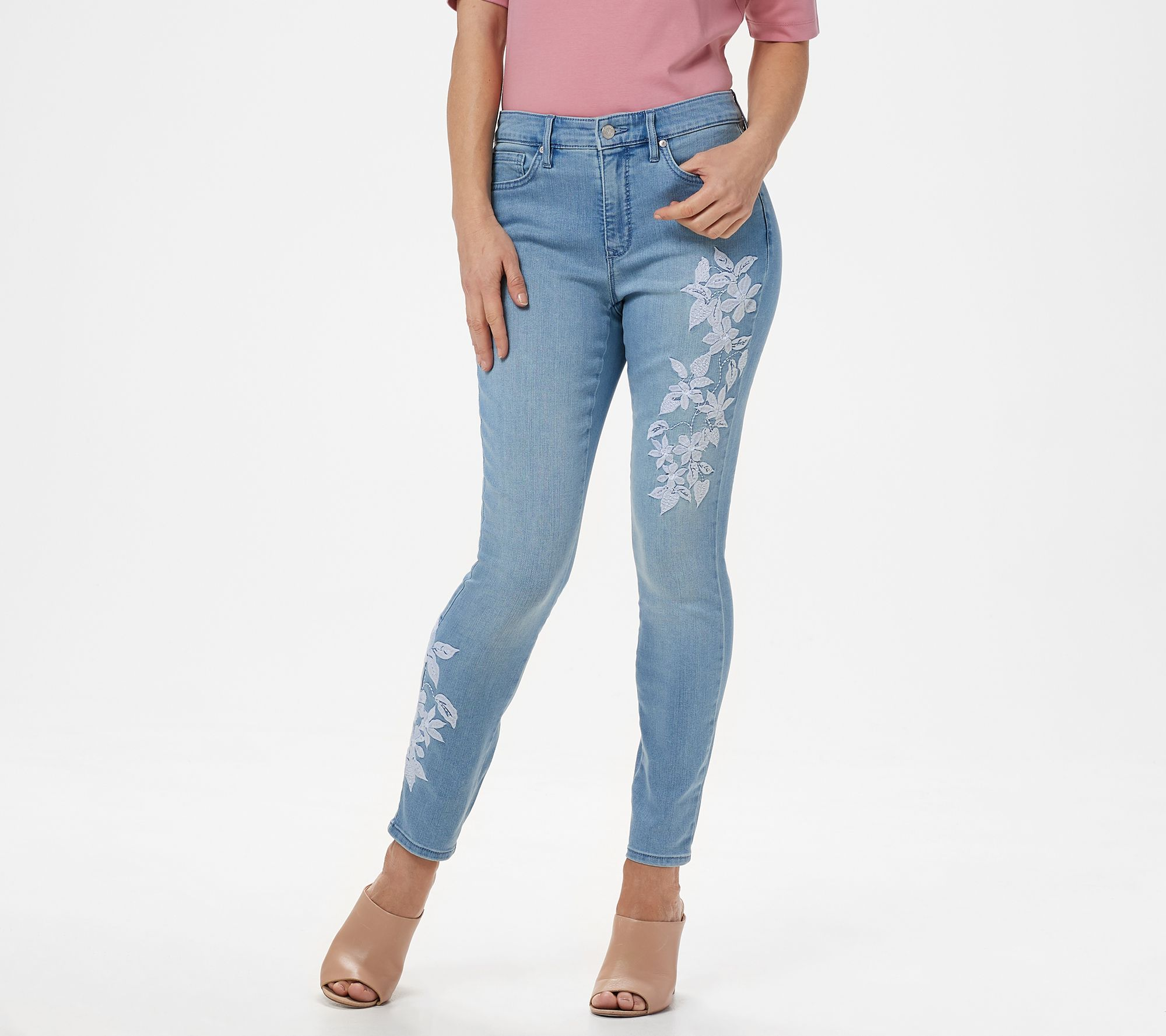 ac359063987 Martha Stewart Regular Embroidered 5-Pocket Ankle Jeans - Page 1 — QVC.com