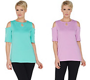 As Is Quacker Factory Set of 2 Keyhole Neck Cold Shoulder Knit Tops - A344314