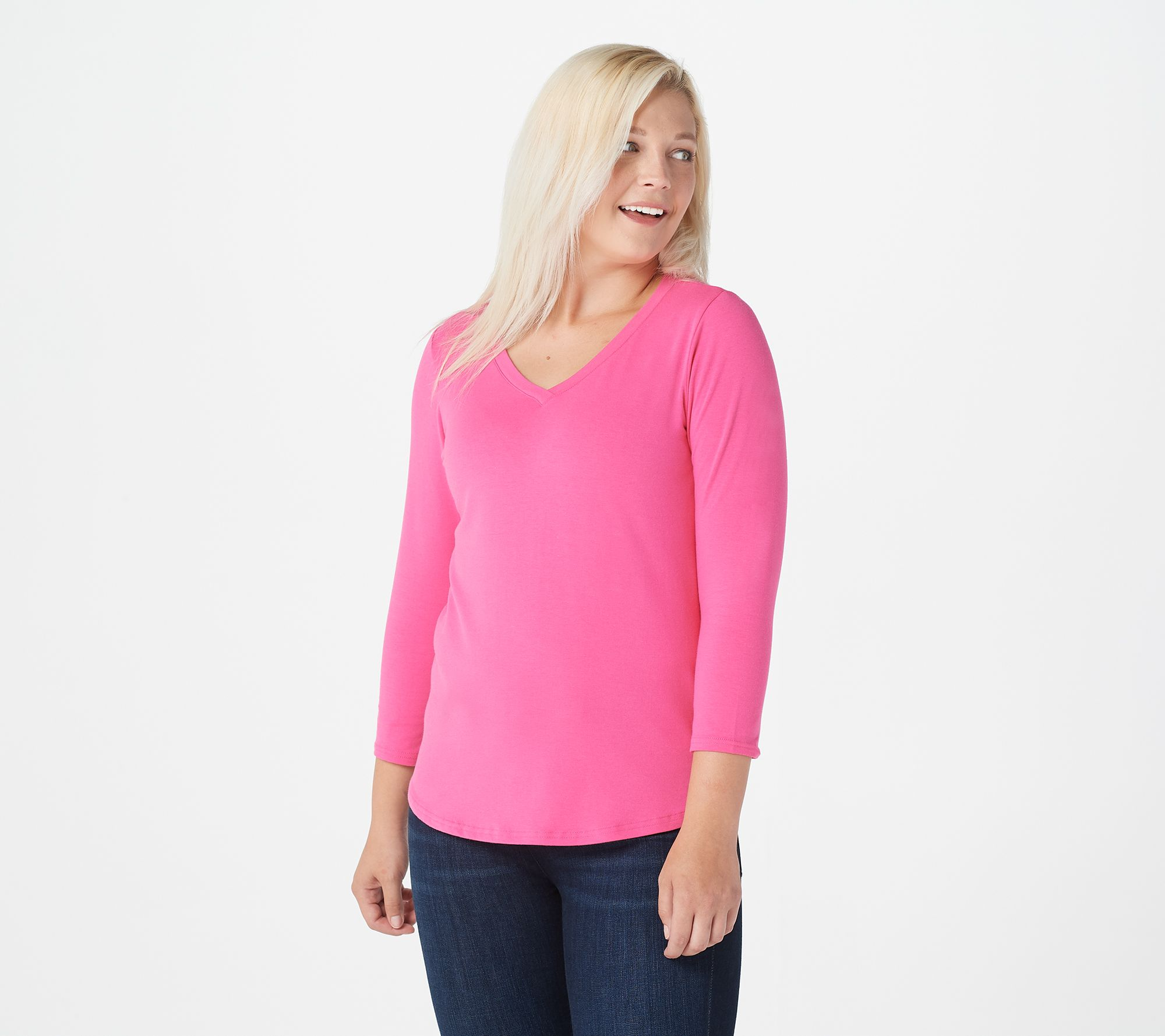 Linea by Louis Dell/'Olio Square Neck Short Sleeve Sweater Tunic Size L Pink