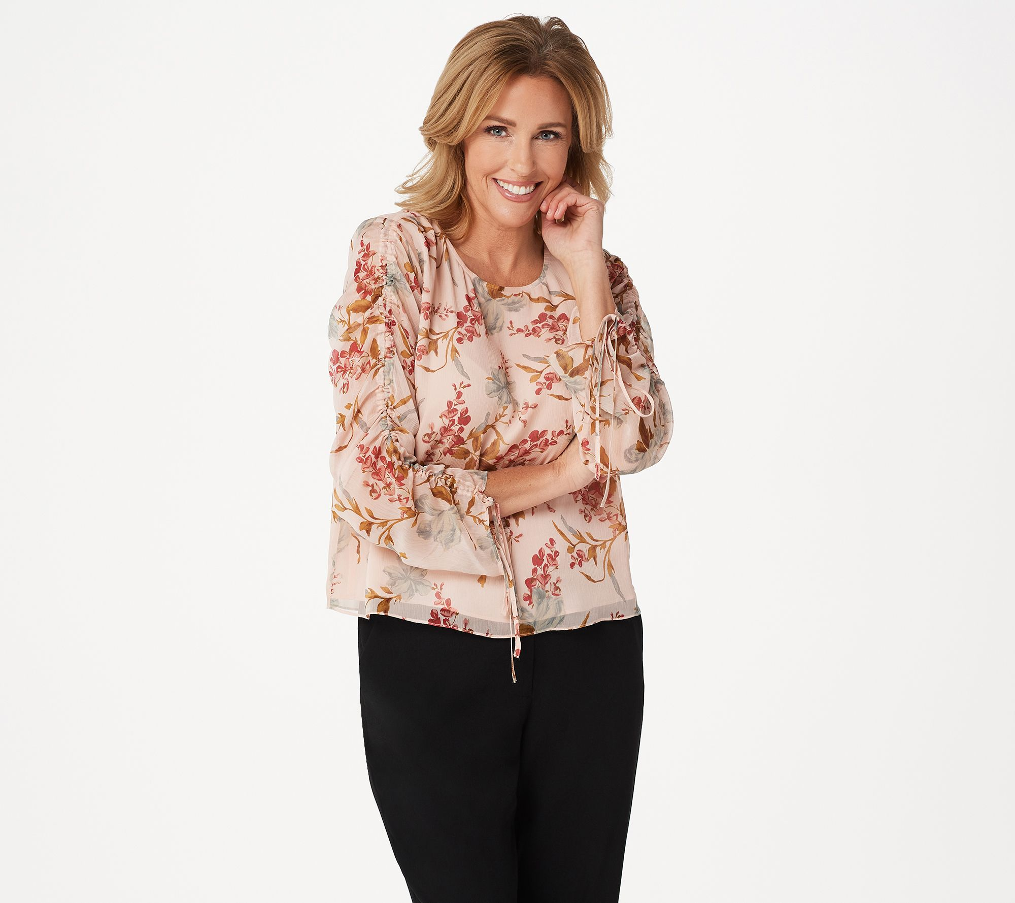 e67f5a2af955 Vince Camuto Drawstring Sleeve Wildflower Blouse - Page 1 — QVC.com