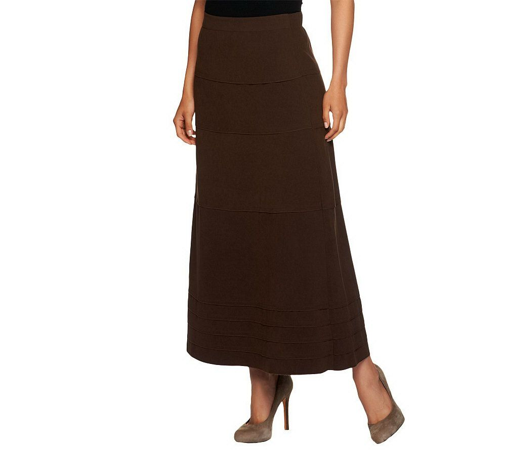 be36a981d8 Denim & Co. Faux Suede Tiered Long Skirt - Page 1 — QVC.com