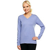 Denim & Co. Essentials Long Sleeve V-neck Sweater - A240615