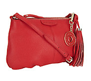 As Is Isaac Mizrahi Live! Bridgehampton Leather Zip Top Crossbody - A257015