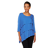 Susan Graver Liquid Knit Asymmetric Hem Tiered Tunic - A265015