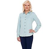 Denim & Co. Stretch Denim Shirt w/ Studded Collar Detail - A267915