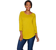 Isaac Mizrahi Live! Essentials 3/4 Sleeve Curved Hem Tunic - A279015