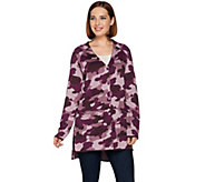 As Is Isaac Mizrahi Live! SOHO Camo Jacquard Cardi w/Hi-Low Hem - A290915