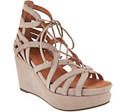 Gentle Souls Leather Lace-up Wedge Sandals - Joy - A291815