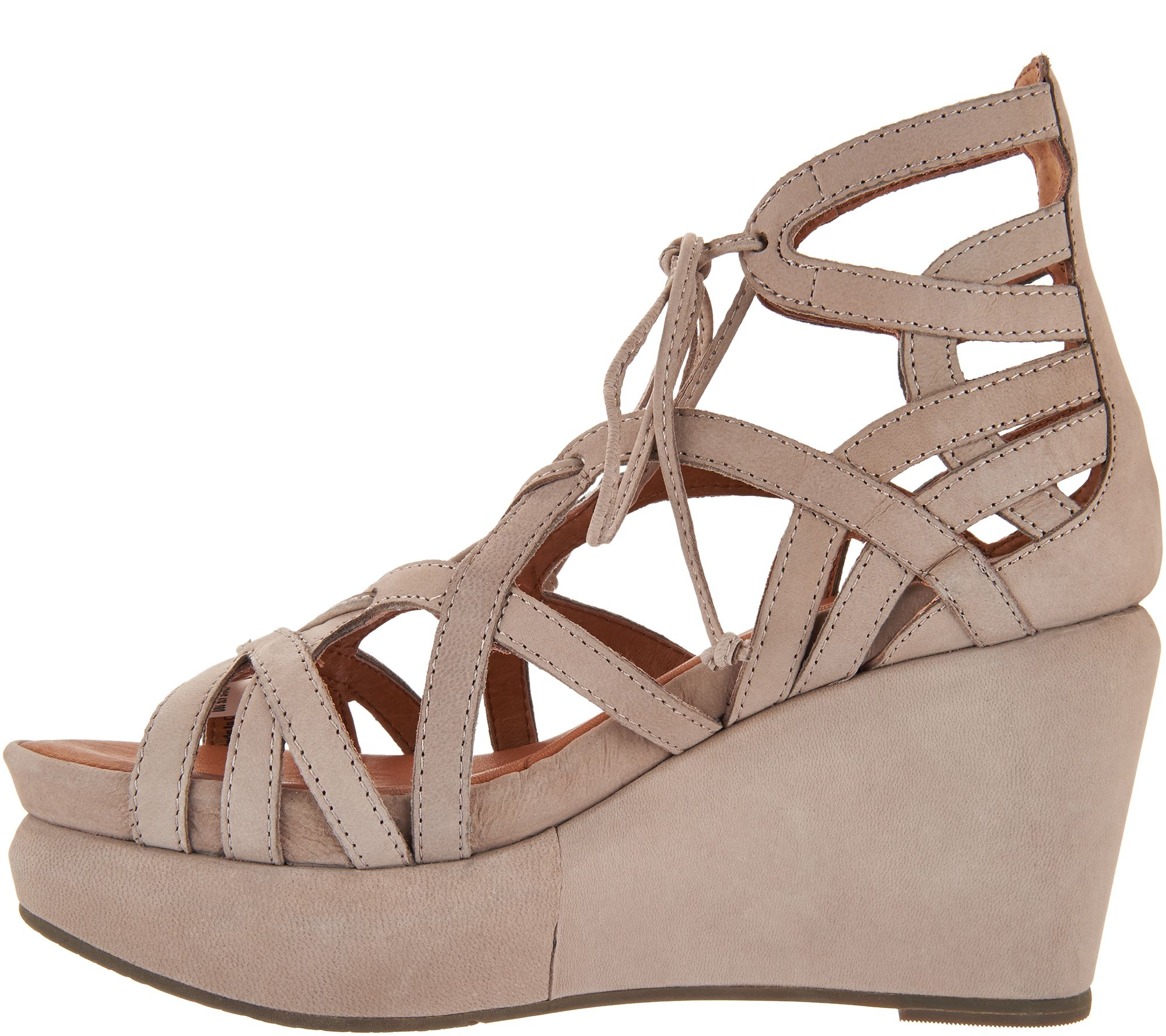 9c61cd6e9b77b5 Gentle Souls Leather Lace-up Wedge Sandals - Joy - Page 1 — QVC.com