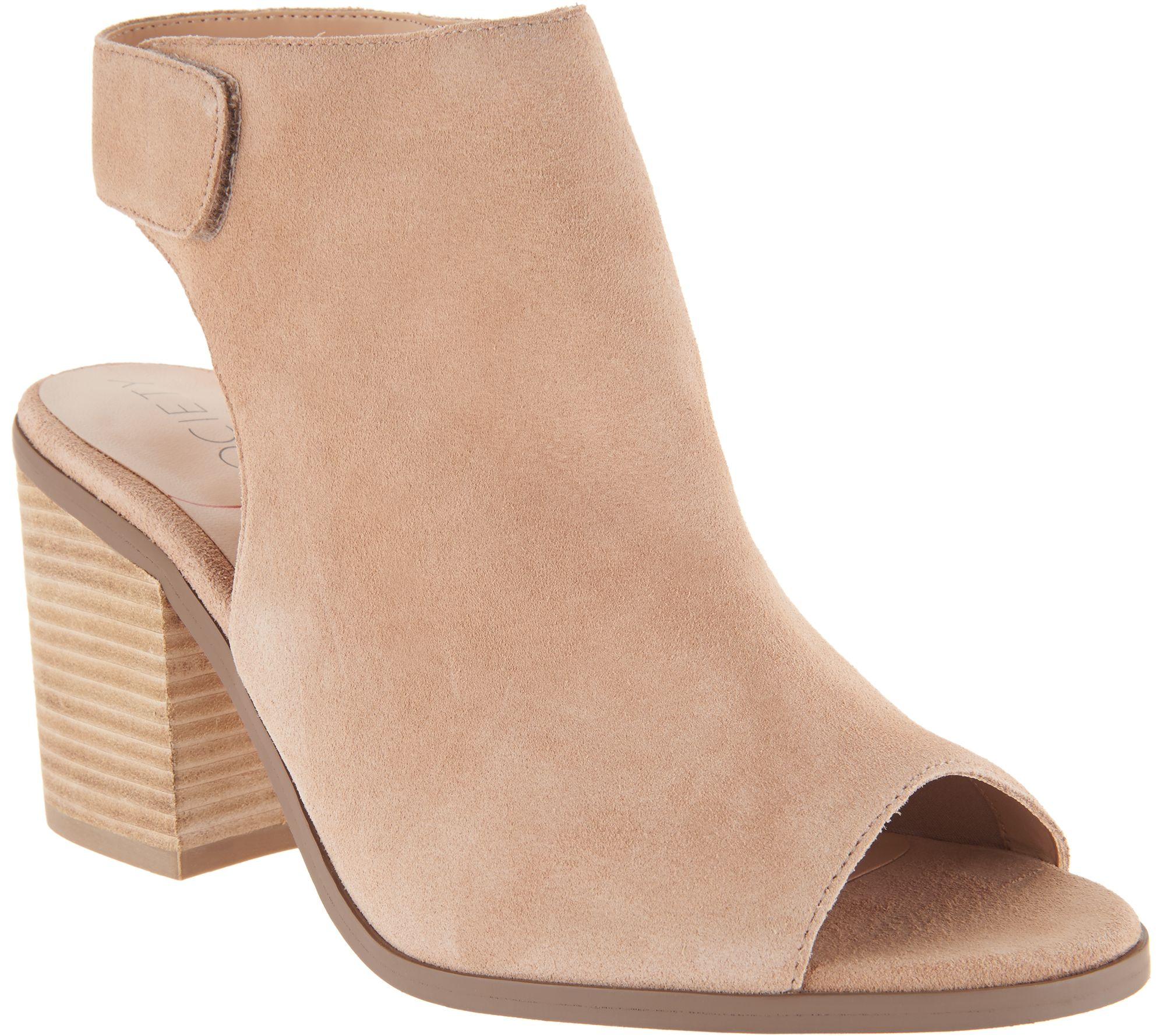 3fc0f0967 Sole Society Suede Peep-Toe Ankle Booties - Jagger - Page 1 — QVC.com