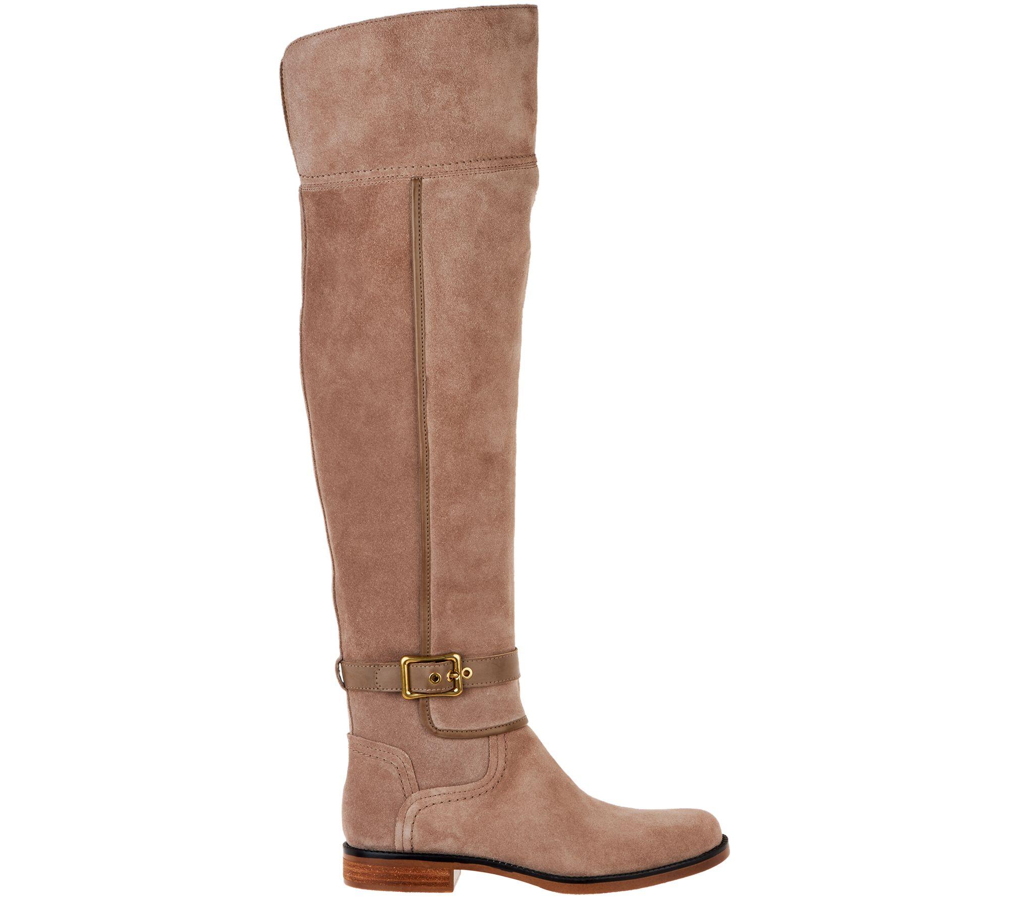 5a63a258b21 Franco Sarto Medium Calf Suede Over-the-Knee Boots - Crimson - Page 1 —  QVC.com