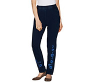 Quacker Factory DreamJeannes Regular Floral Embroidered Slim Leg Pants - A299515