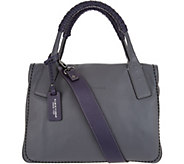 Plinio Visona Italian Leather Colorblock Satchel Handbag - A301015