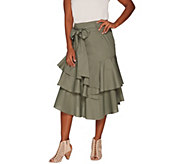 Vince Camuto Tiered Ruffle Belted Poplin Skirt - A306715