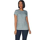 G.I.L.I. Short Sleeve Crew Neck Rib Knit T-Shirt - A306815