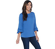 Denim & Co. Boatneck 3/4-Bell Sleeve Top w/ Ruffle Cuffs - A309415