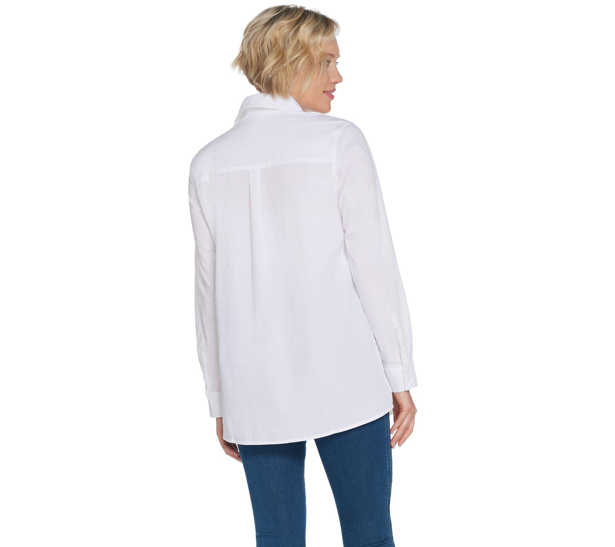 e1142356 Martha Stewart Stretch Poplin Button Front Blouse - Page 1 — QVC.com
