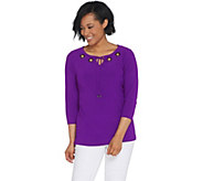 Dennis Basso Caviar Crepe 3/4-Sleeve Top with Grommets - A310215