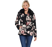 Dennis Basso Printed Luxe Crepe Jacket with Faux Fur Collar - A343915