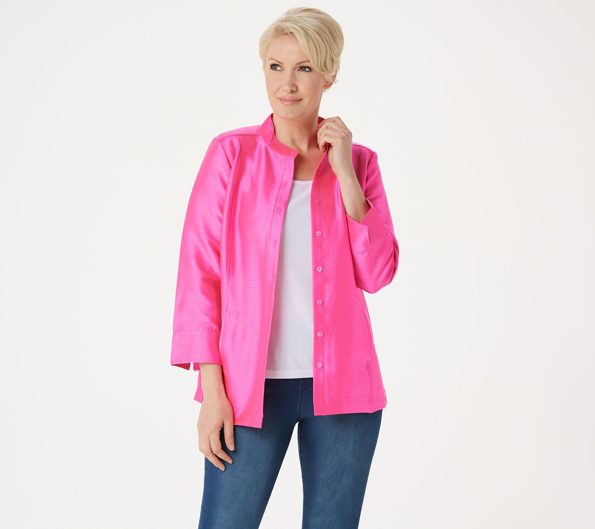93729e877b Linea by Louis Dell'Olio Faux Shantung Band Collar Jacket - Page 1 — QVC.com