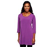 Susan Graver Essentials Liquid Knit 3/4 Sleeve Tunic - A215716