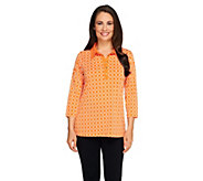 Susan Graver Liquid Knit Printed 3/4 Sleeve Henley Top - A251716