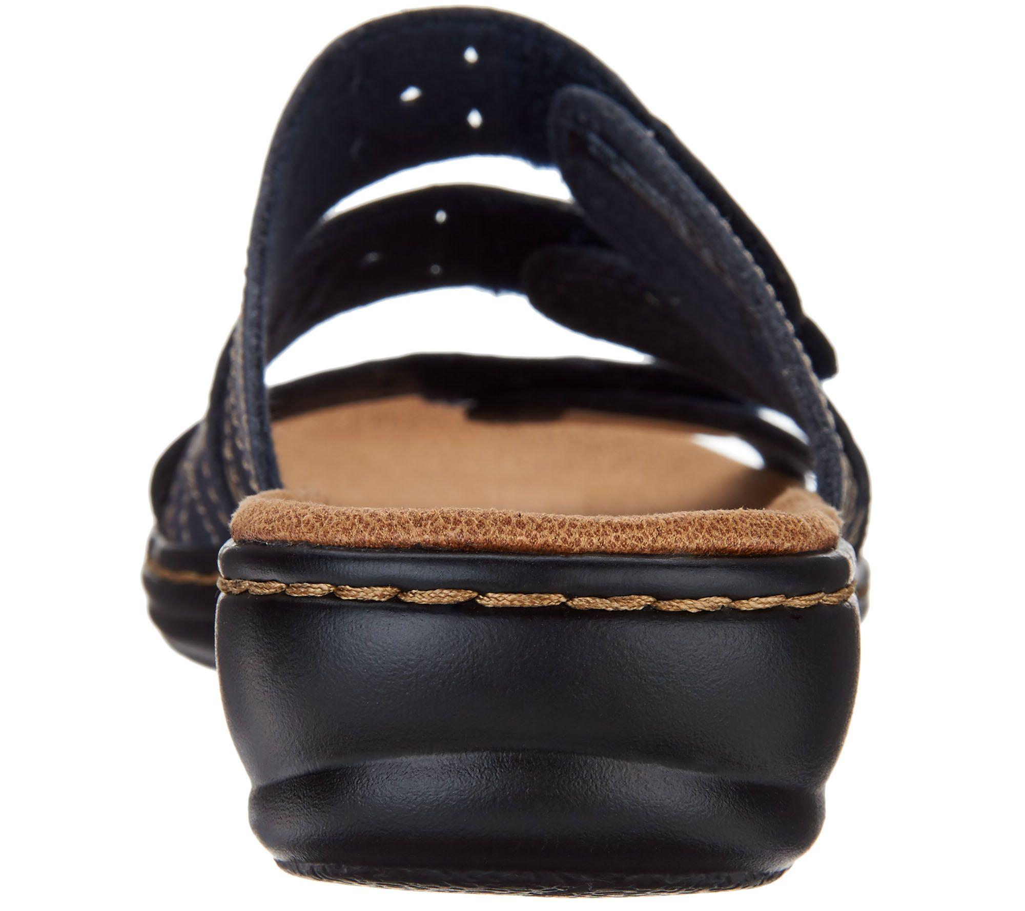 c486cbec67bf6 Clarks Collection Leather - Strap Slides - Leisa Cacti — QVC.com