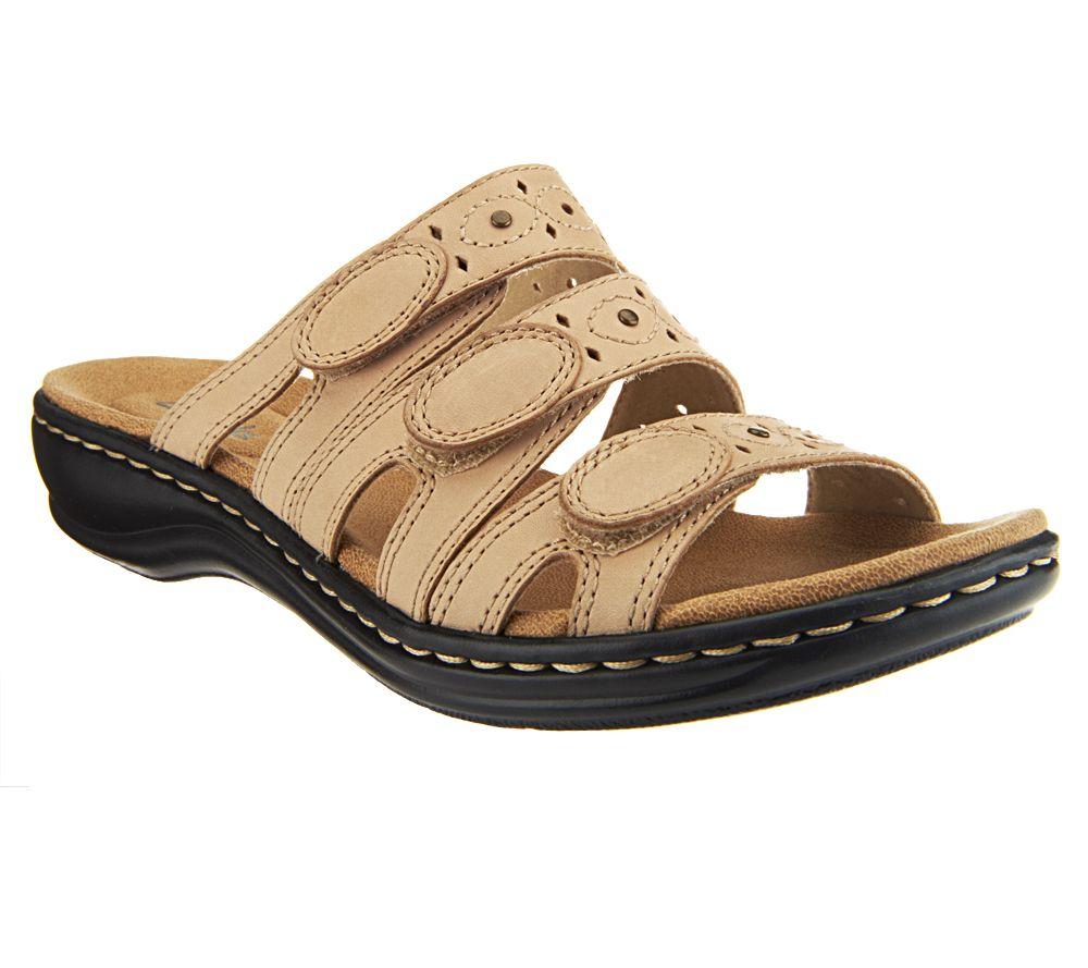 98cae0d6b818 Clarks Leather Triple Strap Slides - Leisa Cacti - Page 1 — QVC.com