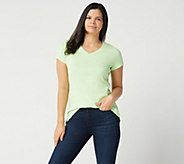 Isaac Mizrahi Live! Essentials V-neck Short Sleeve Top - A286116