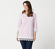 Denim & Co. Stripe Printed 3/4 Sleeve Knit Top with Lace Trim - A288716