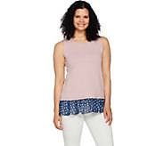 LOGO Lounge by Lori Goldstein Tank w/ Printed Chiffon and Crossover Back - A290216