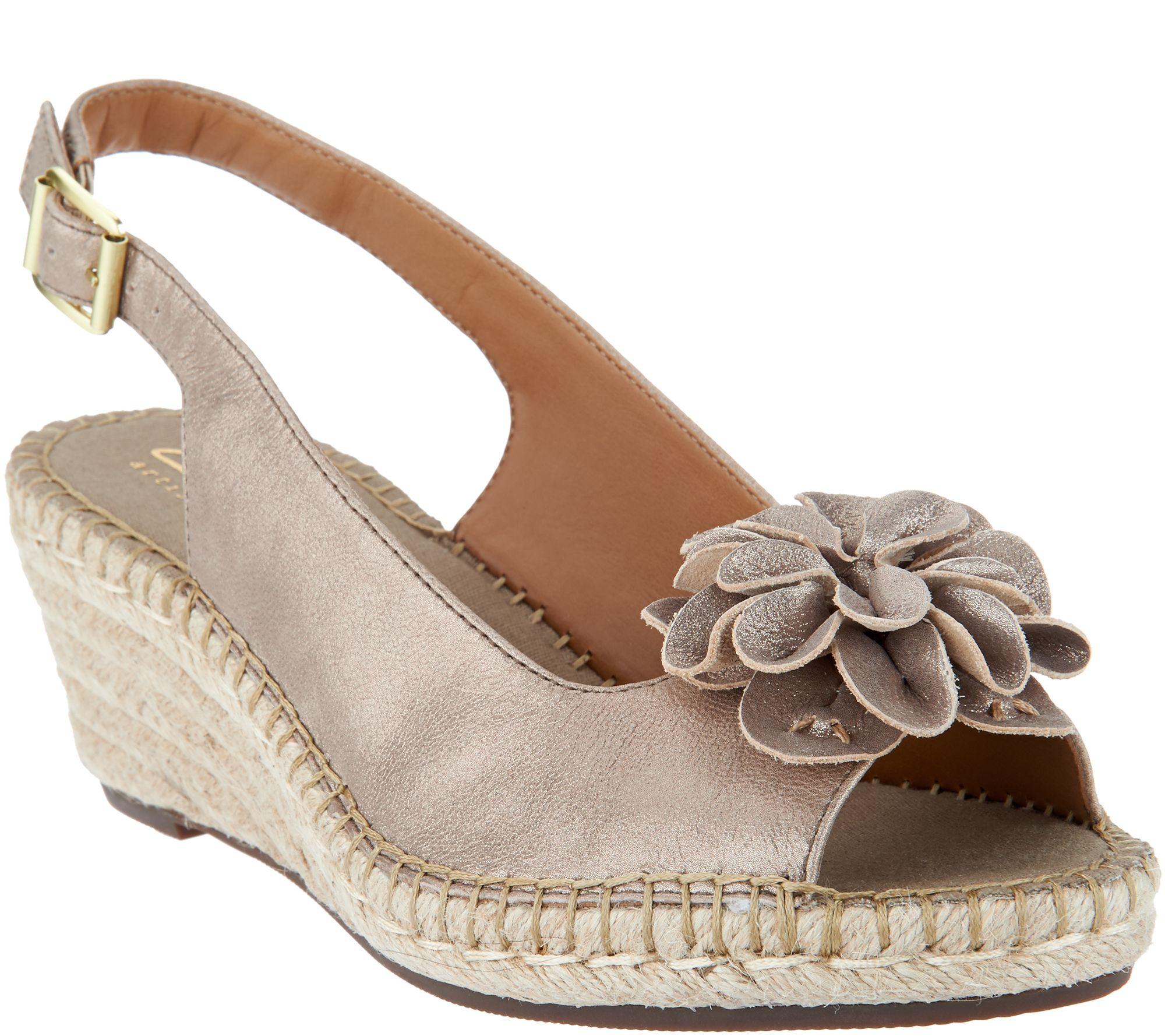 49d680e3309 Clarks Artisan Leather Peep-toe Espadrilles - Petrina Bianca — QVC.com
