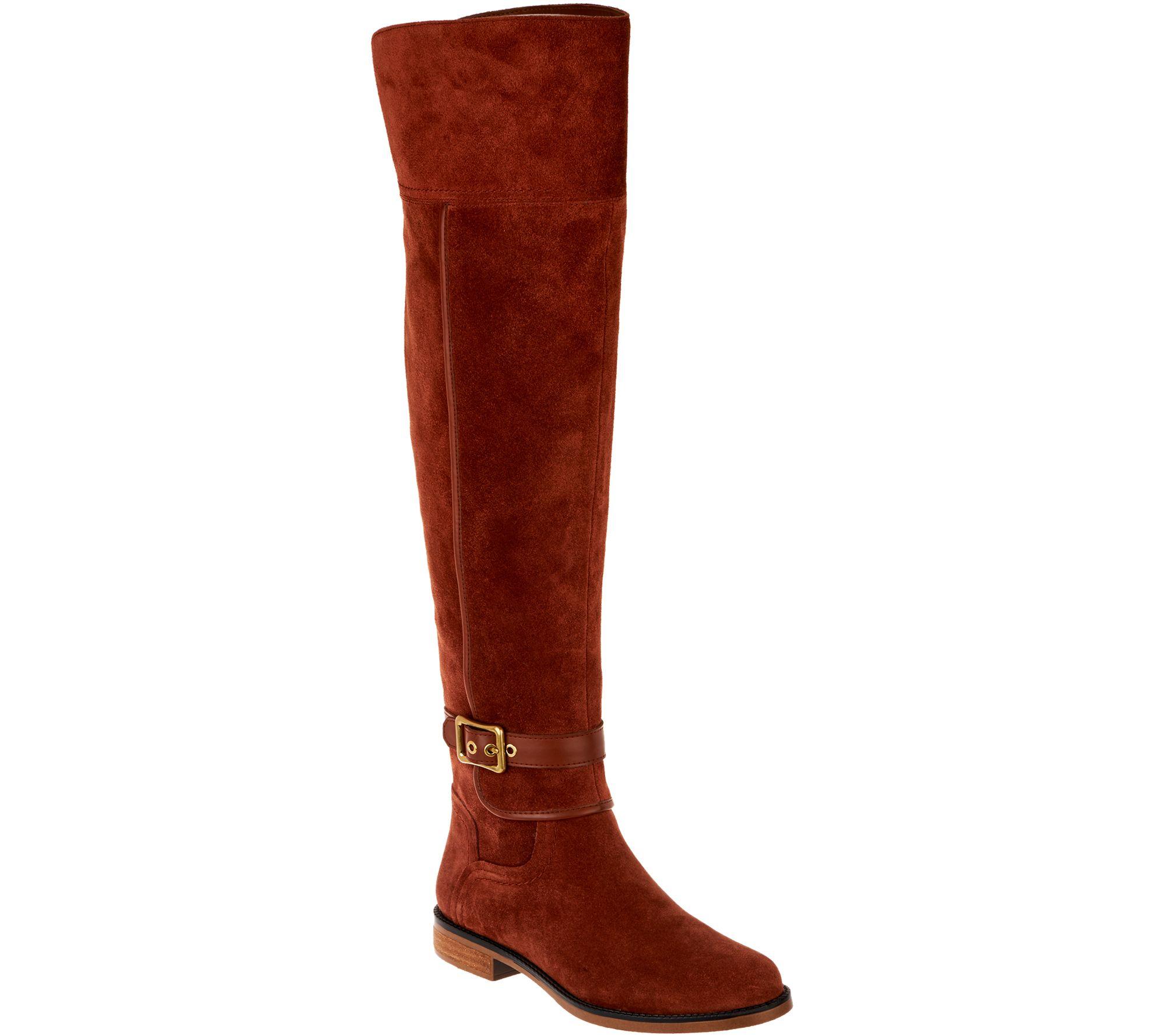 c17c1c1f18ba Franco Sarto Wide Calf Suede Over-the-Knee Boots - Crimson - Page 1 —  QVC.com