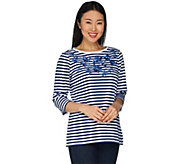 Quacker Factory Striped Knit Top with Floral Embroidery - A299516