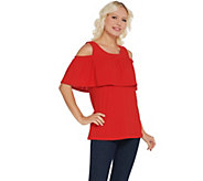 Susan Graver Knit Eyelet Cold-Shoulder Top - A303316