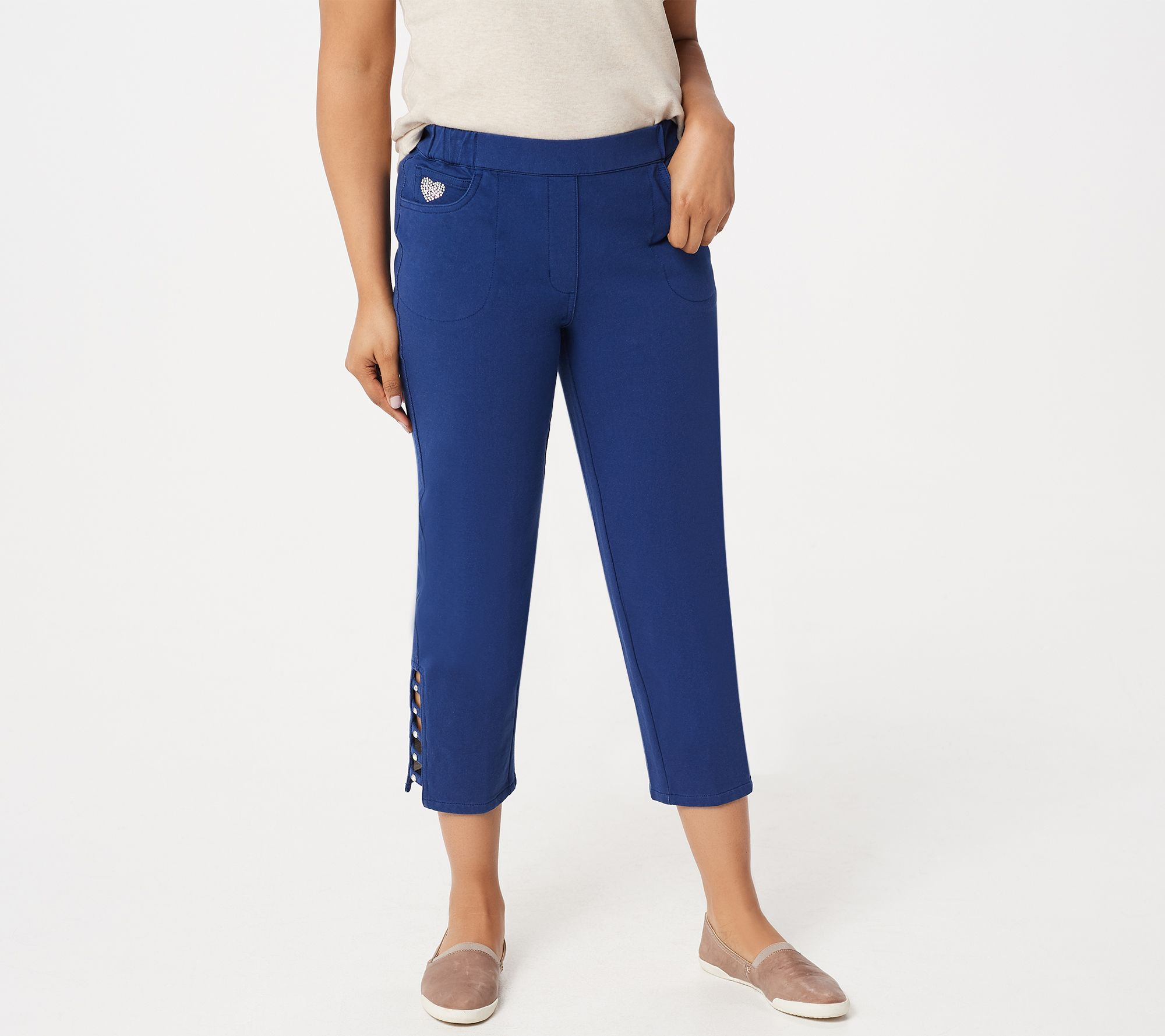 32b9e63165acb Quacker Factory DreamJeannes Ladder Hem Cropped Pants with Bling - Page 1 —  QVC.com