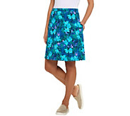 Denim & Co. Floral Print Pull-on Skirt with Pockets - A307116