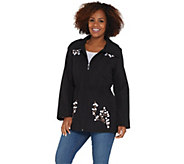 Dennis Basso Water Resistant Embroidered Zip Front Hooded Jacket - A307216