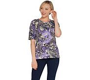 Denim & Co. Printed Jersey Scoop-Neck Elbow-Sleeve Top - A309416