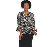 Joan Rivers Pullover Silky Blouse with Tie Sleeves - A309716
