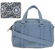 Vera Bradley Microfiber 100 Handbag with RFID Riley Compact Wallet - A342316