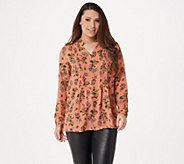 Joan Rivers Floral Print V-Neck Pleated Blouse - A347416