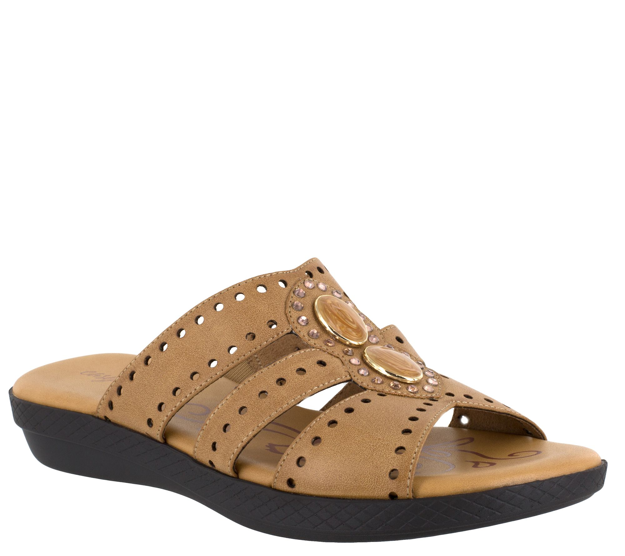 d56ff4035e9 Easy Street Jeweled Slip-On Sandals - Vara — QVC.com