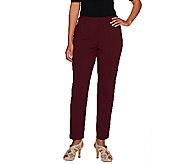 Susan Graver Chelsea Stretch Comfort Waist Zip Front Ankle Pants - A266817