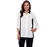 Susan Graver Feather Weave Long Sleeve Color-Block Shirt - A269217