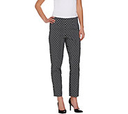 Susan Graver Printed Uptown Stretch Side Zip Slim Leg Ankle Pants - A275217